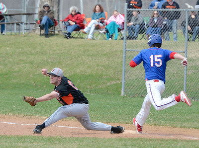 Ed Burke - The Saratogian 04/19/14 Schuylerville's Joe Braim gets the out on Broadalbin-Perth'sTyler Graham during Saturday's game at Schuylerville.