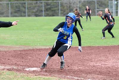 Ed Burke - The Saratogian 04/26/14 Galway's Sabrina Williams gets the signal to head home after an in-the-park homerun against Corinth Saturday.