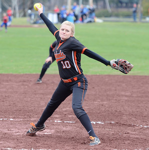 Ed Burke - The Saratogian 04/26/14 Corinth's Kaitlyn Plumeau pitches to Galway during Saturday's Corinth Classic Softball Tournament.