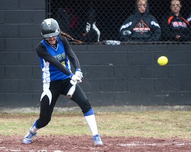 Ed Burke - The Saratogian 04/26/14 Galway's Jessi Freebern gets a base hit against Corinth during Saturday's Corinth Classic Softball Tournament.