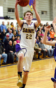 Ed Burke - The Saratogian 02/19/14 Saratoga Central Catholic's Ryan Czarnecki gets two for the Saints during Wednesday's Sectional matchup against Hadley-Luzerne.