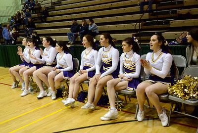 Ed Burke - The Saratogian 02/22/14 Saratoga Central Catholic cheerleaders cheer on the Saints during Saturday's Section ll Class C quarter-final at Hudson Valley Community College.
