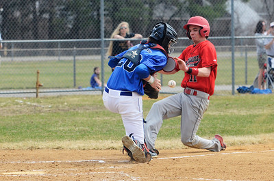 Erica Miller @togianphotog - The Saratogian:  Saratoga Springs High School held their first baseball home game on Monday afternoon at East Side Rec, April 14th, 2014, against Niskayuna. Saratoga's catcher Brendan Coffey missed a catch as Nisky's Taylor Parks crossed over home plate.