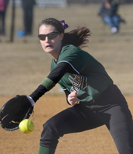 Ed Nurke - The Saratogian 04/09/14 Shen pitcher Taylor Fitzgerald snags a hit by Saratoga's Bailey Motola during Wednesday's game at Shen. Fitzgerald threw to first to make the out.