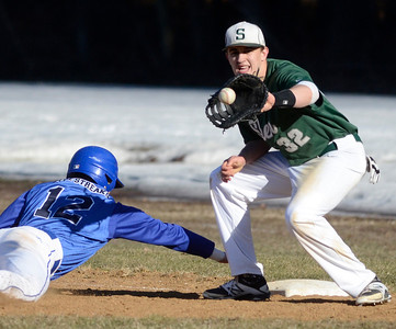 Ed Burke - The Saratogian 04/09/14 Saratoga's Jordan Prehoda gets back to first beating the throw to Shen's John Novenche during Wednesday's game at Shen.