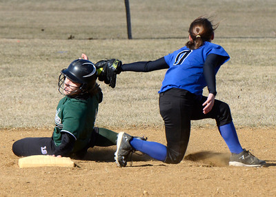 Ed Burke - The Saratogian 04/19/14 Shen's Melissa Nealon is safe at second beating the tag by Saratoga's Joelie Flynn during Wednesday's game at Shen.