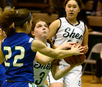 Ed Burke - The Saratogian 03/08/14 Shen's Madi Shea is fouled by MaryKate  Bonanni during Saturday's Class AA regional matchup against Cicero-North Syracuse in Troy. Shea was able to score on the attempt and converted the free-throw for a three point play.