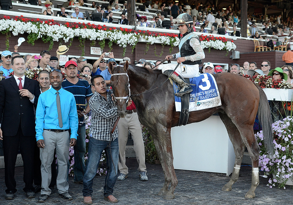 . Irad Ortiz Jr. sits atop Capo Baston after winning Saturday\'s King\'s Bishop Stakes. Photo Ed Burke/SARATOGIAN 8/24/13