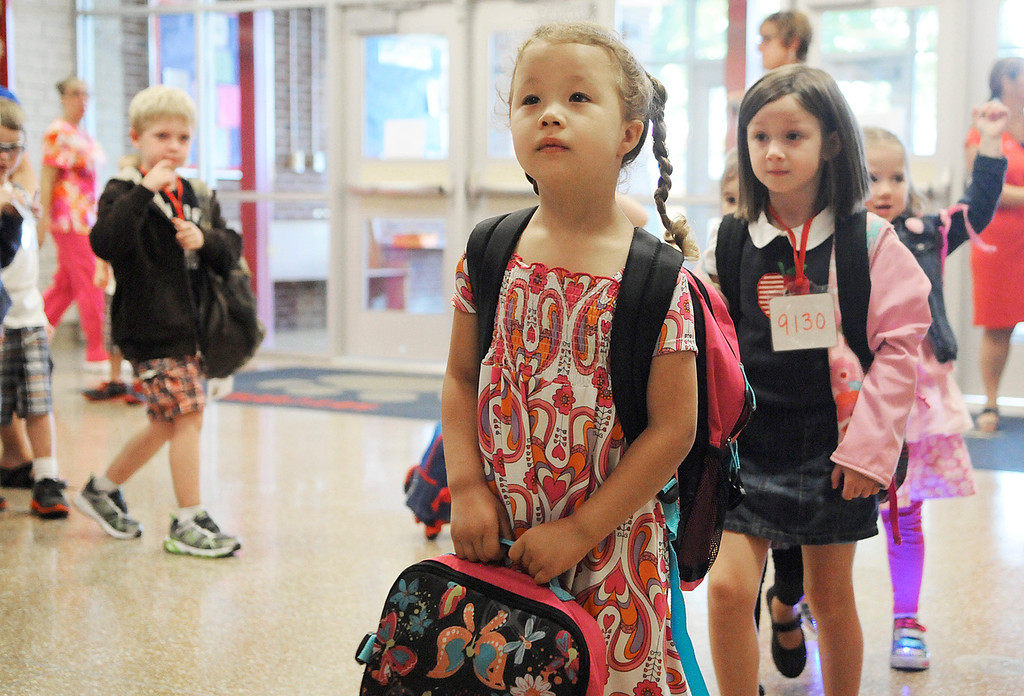 . Ballard Road Elementary School held their first day of classes for South Glens Falls School District Wednesday morning. Saratoga Springs also had their first day of classes.Photo Erica Miller/The Saratogian 9/4/13 news_FirstDay5_Thurs