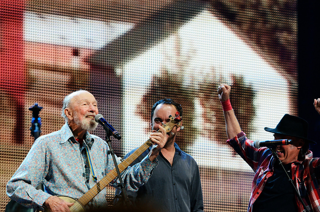 . Erica Miller - The Saratogian Guest Artist Pete Seeger performed at the Farm Aid 2013 in Saratoga Springs on Sept. 21, 2013 at Saratoga Performing Arts Center. Later Willie Nelson, John Melloncamp, Dave Matthews and Neil Young.SAR-l-PeteSeeger10