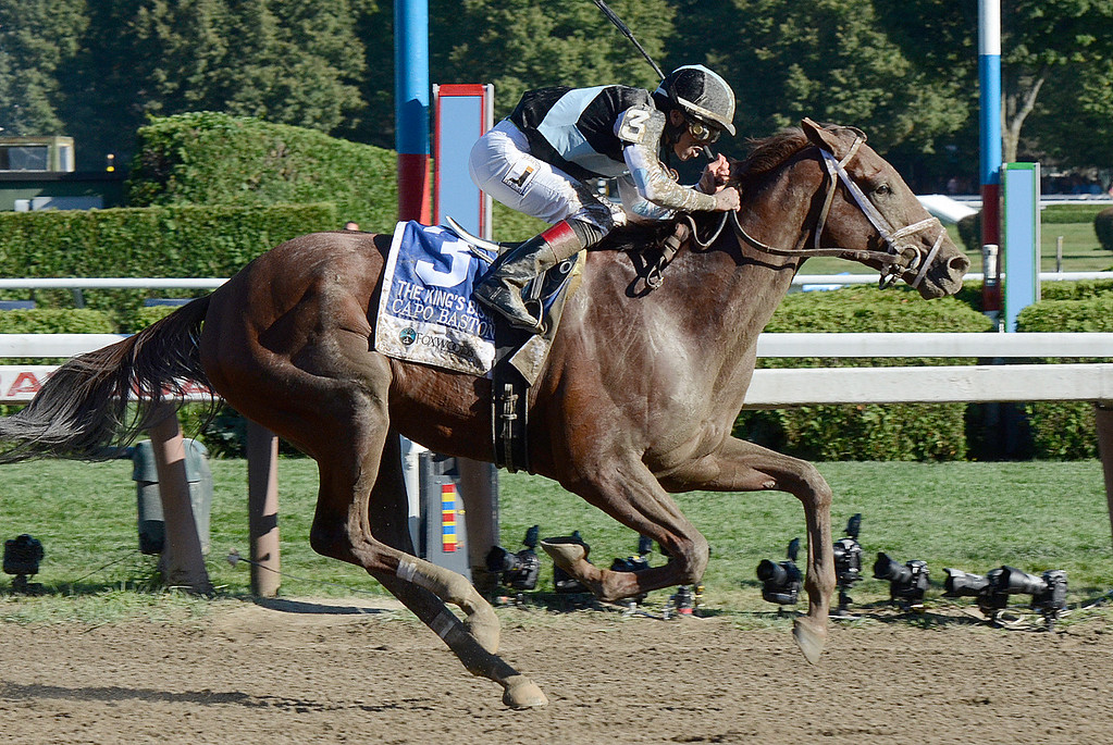 . Capo Baston and Irad Ortiz Jr. get the win in Saturday\'s King\'s Bishop Stakes. Photo Ed Burke/SARATOGIAN 8/24/13