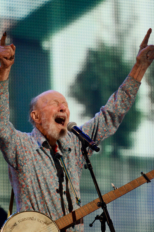 . Erica Miller - The Saratogian Guest Artist Pete Seeger performed at the Farm Aid 2013 in Saratoga Springs on Sept. 21, 2013 at Saratoga Performing Arts Center. Later Willie Nelson, John Melloncamp, Dave Matthews and Neil Young.SAR-l-PeteSeeger3