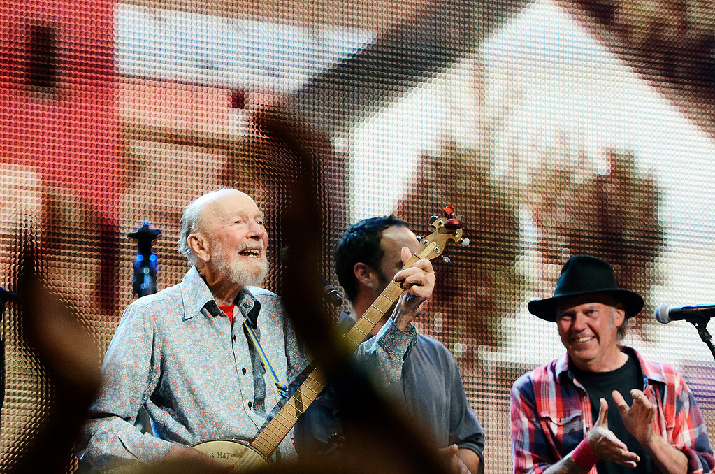 . Erica Miller - The Saratogian Guest Artist Pete Seeger performed at the Farm Aid 2013 in Saratoga Springs on Sept. 21, 2013 at Saratoga Performing Arts Center. Later Willie Nelson, John Melloncamp, Dave Matthews and Neil Young.SAR-l-PeteSeeger11