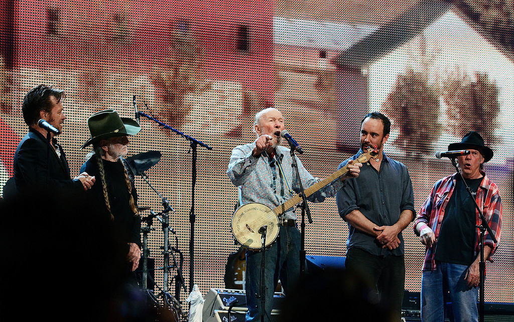 . Erica Miller - The Saratogian Guest Artist Pete Seeger performed at the Farm Aid 2013 in Saratoga Springs on Sept. 21, 2013 at Saratoga Performing Arts Center. Later Willie Nelson, John Melloncamp, Dave Matthews and Neil Young.SAR-l-PeteSeeger9