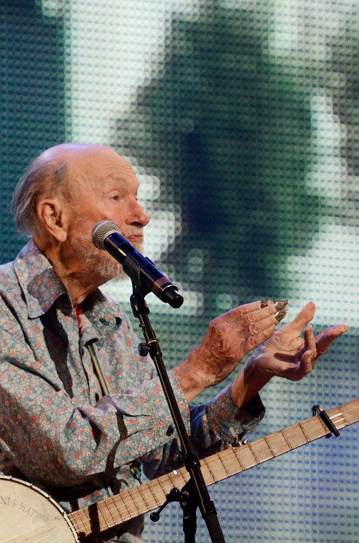 . Erica Miller - The Saratogian Guest Artist Pete Seeger performed at the Farm Aid 2013 in Saratoga Springs on Sept. 21, 2013 at Saratoga Performing Arts Center. Later Willie Nelson, John Melloncamp, Dave Matthews and Neil Young.SAR-l-PeteSeeger4