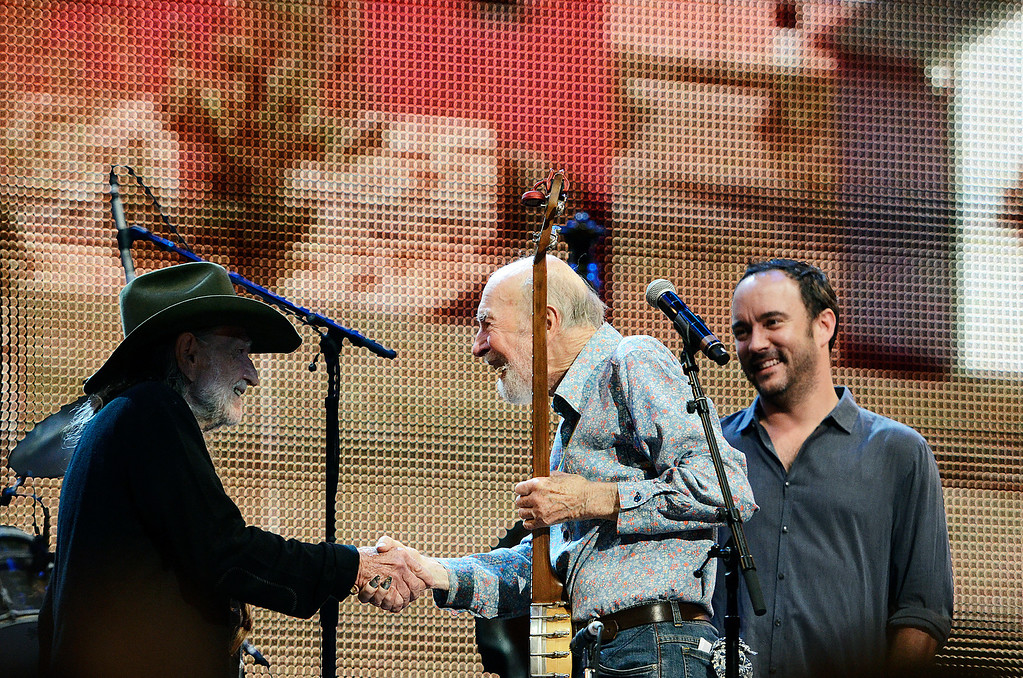 . Erica Miller - The Saratogian Guest Artist Pete Seeger performed at the Farm Aid 2013 in Saratoga Springs on Sept. 21, 2013 at Saratoga Performing Arts Center. Later Willie Nelson, John Melloncamp, Dave Matthews and Neil Young.SAR-l-PeteSeeger12