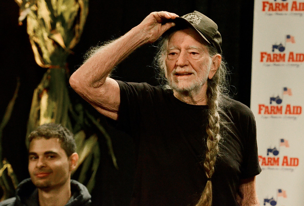 . Erica Miller - The Saratogian Willie Nelson discusses issues at a panel press conference to kick off the Farm Aid 2013 in Saratoga Springs on Sept. 21, 2013 at Saratoga Performing Arts Center.SAR-l-PressConf2