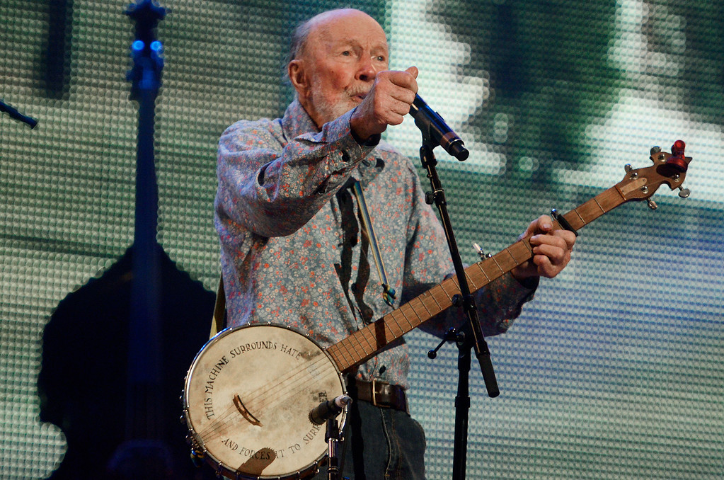 . Erica Miller - The Saratogian Guest Artist Pete Seeger performed at the Farm Aid 2013 in Saratoga Springs on Sept. 21, 2013 at Saratoga Performing Arts Center. Later Willie Nelson, John Melloncamp, Dave Matthews and Neil Young.SAR-l-PeteSeeger2