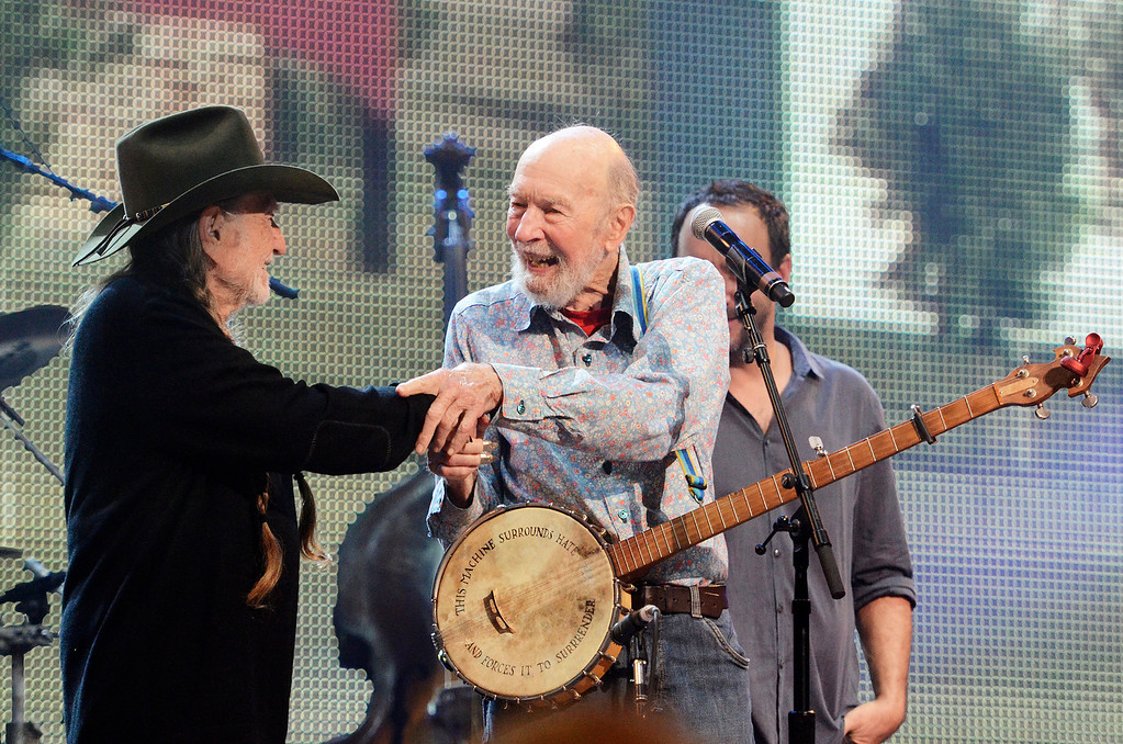 . Erica Miller - The Saratogian Guest Artist Pete Seeger performed at the Farm Aid 2013 in Saratoga Springs on Sept. 21, 2013 at Saratoga Performing Arts Center. Later Willie Nelson, John Melloncamp, Dave Matthews and Neil Young.SAR-l-PeteSeeger6