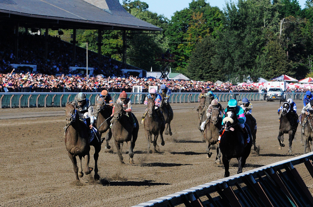 . Capo Bastone ridden by Irad Ortiz, Jr., and trained by Todd Pletcher won the 29th Running of The Foxwoods King\'s Bishop on Saturday at the Saratoga Race Course.Photo Erica Miller/The Saratogian 8/24/13 KingsBishopEM3
