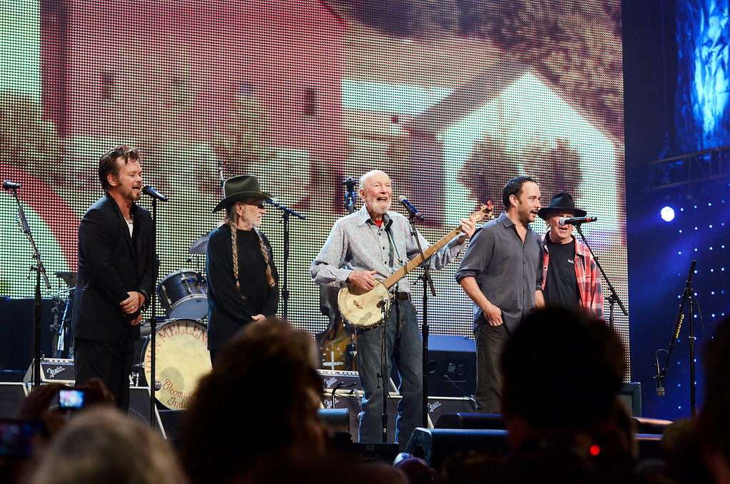 . Erica Miller - The Saratogian Guest Artist Pete Seeger performed at the Farm Aid 2013 in Saratoga Springs on Sept. 21, 2013 at Saratoga Performing Arts Center. Later Willie Nelson, John Melloncamp, Dave Matthews and Neil Young.SAR-l-PeteSeeger8