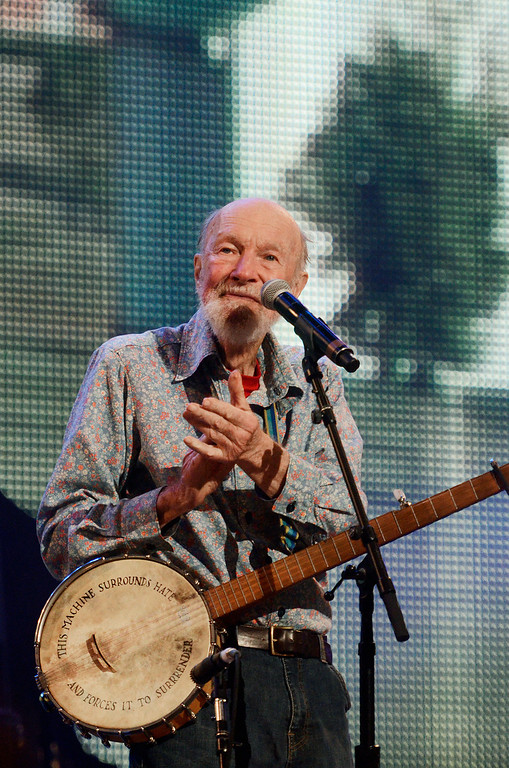 . Erica Miller - The Saratogian Guest Artist Pete Seeger performed at the Farm Aid 2013 in Saratoga Springs on Sept. 21, 2013 at Saratoga Performing Arts Center. Later Willie Nelson, John Melloncamp, Dave Matthews and Neil Young.SAR-l-PeteSeeger5